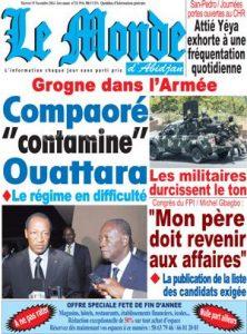 la une d'un journal pro-Gbagbo