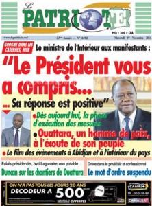 la une du journal pro-Ouattara.