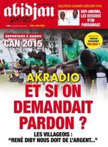 la une d'un journal ivoirien.crédit photo Abidjan sport.com