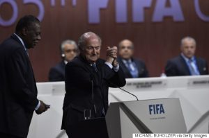 FIFA President Sepp Blatter gestures after being re-elected following a vote to decide on the FIFA presidency in Zurich on May 29, 2015.     AFP PHOTO /  MICHAEL BUHOLZER        (Photo credit should read MICHAEL BUHOLZER/AFP/Getty Images)