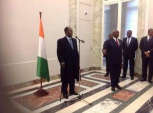 le président Ouattara à l'ambassade Côte d'ivoire en France.